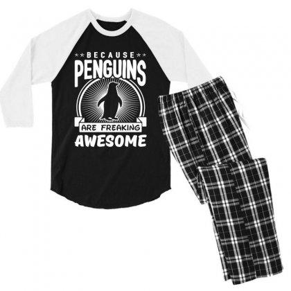 Because Penguins Are Freaking Awesome Men's 3/4 Sleeve Pajama Set Designed By Meganphoebe