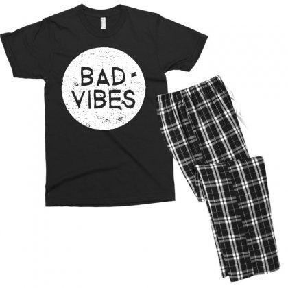 Bad Vibes White Style Men's T-shirt Pajama Set Designed By Meganphoebe