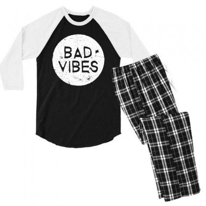 Bad Vibes White Style Men's 3/4 Sleeve Pajama Set Designed By Meganphoebe