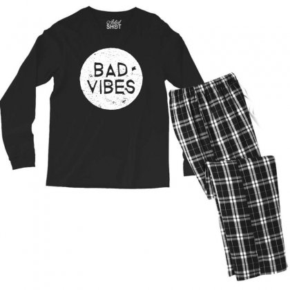 Bad Vibes White Style Men's Long Sleeve Pajama Set Designed By Meganphoebe