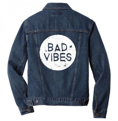 Bad Vibes White Style Men Denim Jacket Designed By Meganphoebe