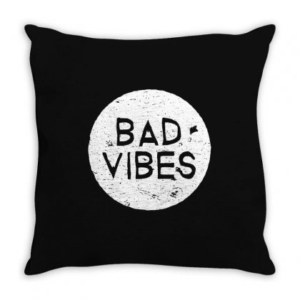 Bad Vibes White Style Throw Pillow Designed By Meganphoebe