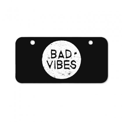 Bad Vibes White Style Bicycle License Plate Designed By Meganphoebe