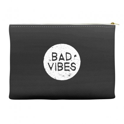 Bad Vibes White Style Accessory Pouches Designed By Meganphoebe