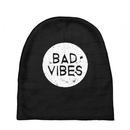 Bad Vibes White Style Baby Beanies Designed By Meganphoebe