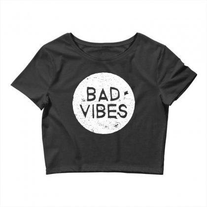 Bad Vibes White Style Crop Top Designed By Meganphoebe