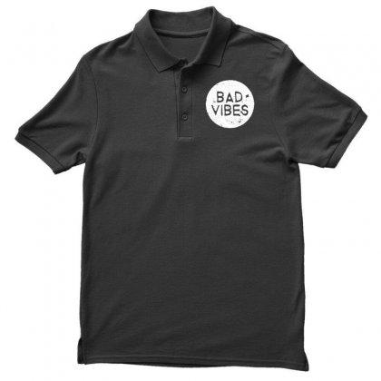 Bad Vibes White Style Men's Polo Shirt Designed By Meganphoebe