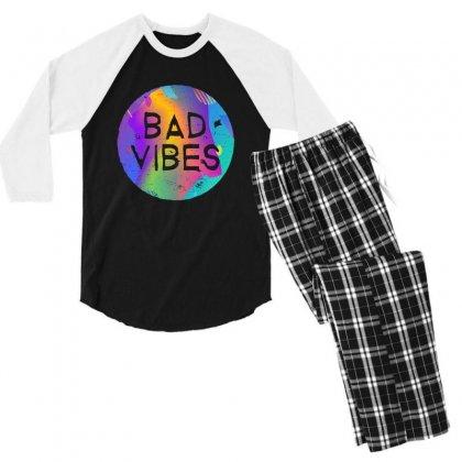 Bad Vibes Men's 3/4 Sleeve Pajama Set Designed By Meganphoebe