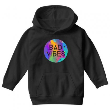 Bad Vibes Youth Hoodie Designed By Meganphoebe