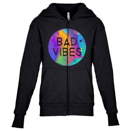 Bad Vibes Youth Zipper Hoodie Designed By Meganphoebe