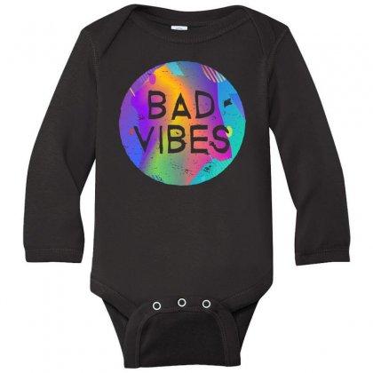 Bad Vibes Long Sleeve Baby Bodysuit Designed By Meganphoebe