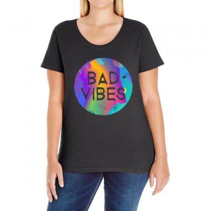 Bad Vibes Ladies Curvy T-shirt Designed By Meganphoebe