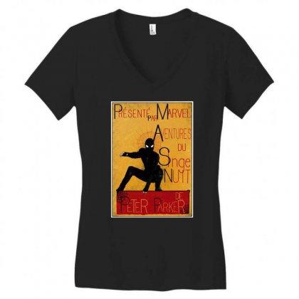 Adventures Of The Night Spider Women's V-neck T-shirt Designed By Meganphoebe