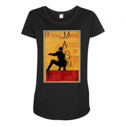 Adventures Of The Night Spider Maternity Scoop Neck T-shirt Designed By Meganphoebe