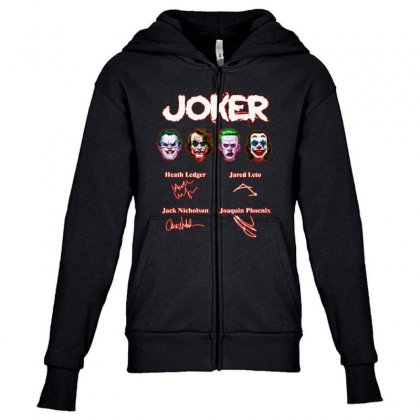 Funny Jokers Signatures Youth Zipper Hoodie Designed By Meganphoebe