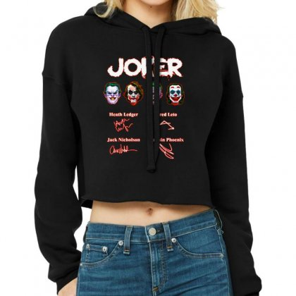 Funny Jokers Signatures Cropped Hoodie Designed By Meganphoebe