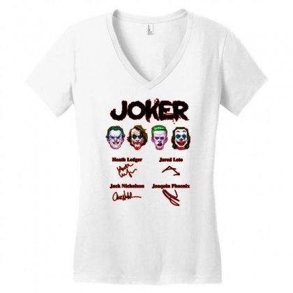 Jokers Signatures Funny Women's V-neck T-shirt Designed By Meganphoebe