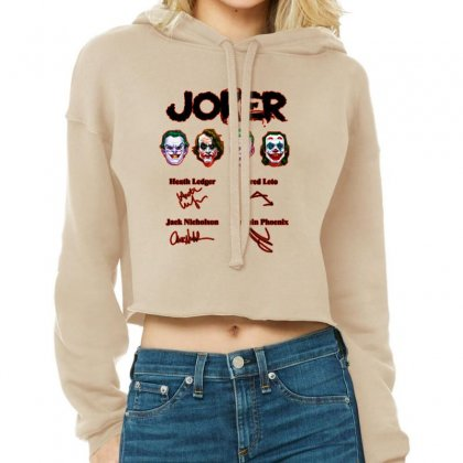 Jokers Signatures Funny Cropped Hoodie Designed By Meganphoebe