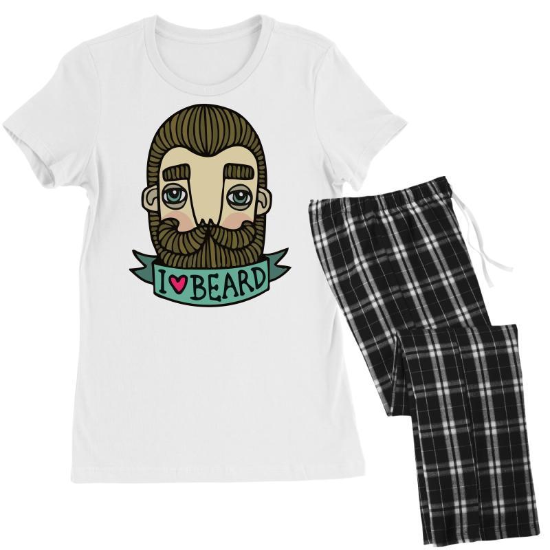 I Love Beard Funny Women's Pajamas Set | Artistshot