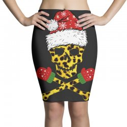 SANTA SKULL LEOPARD CHRISTMAS Pencil Skirts | Artistshot