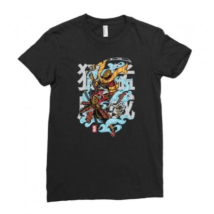 Rage Raccoon Ladies Fitted T-shirt Designed By Daudart