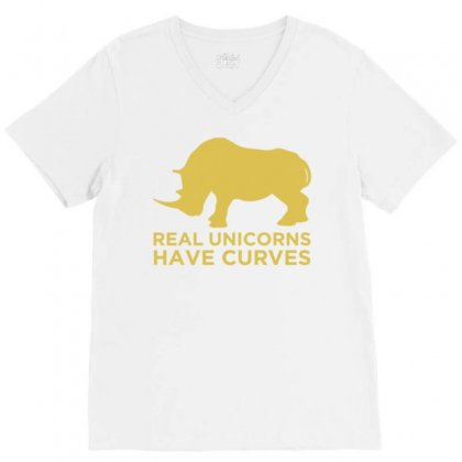Real Unicorns Have Curves V-neck Tee Designed By Daudart