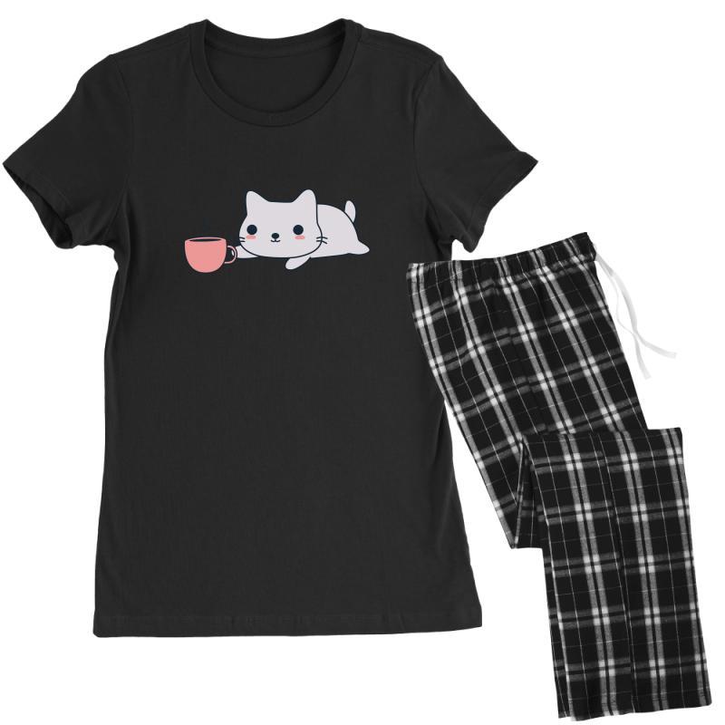 Cute Coffee Loving Kitten Women's Pajamas Set | Artistshot