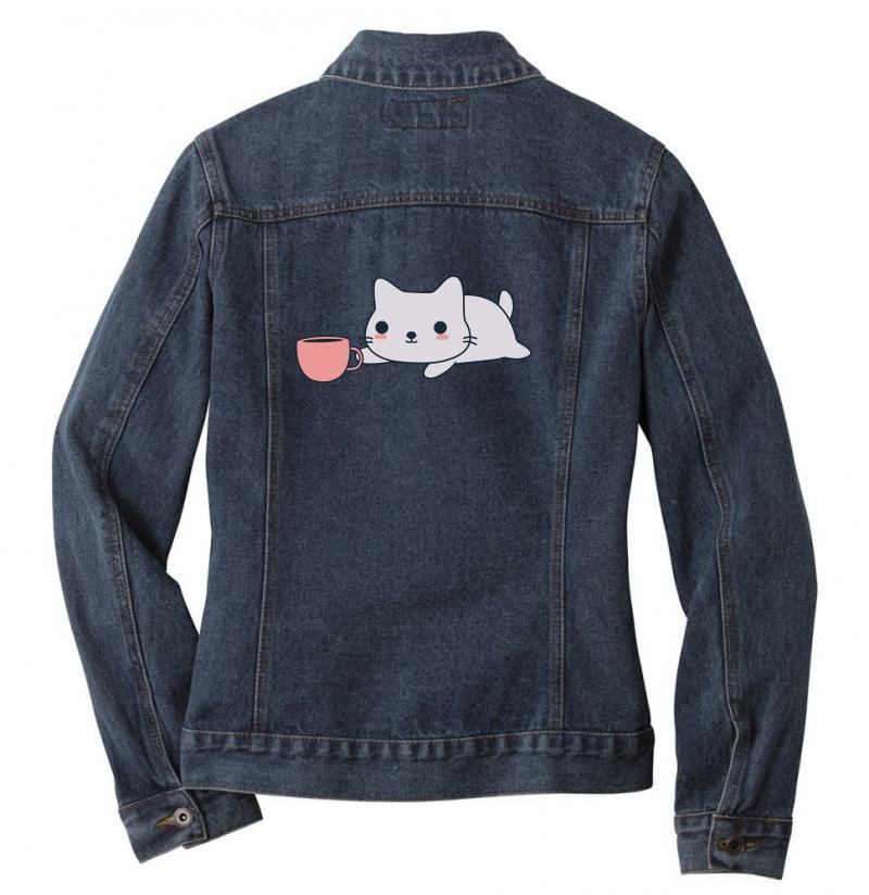 Cute Coffee Loving Kitten Ladies Denim Jacket | Artistshot