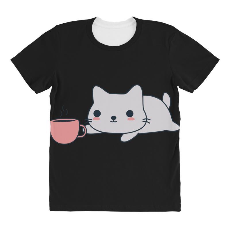 Cute Coffee Loving Kitten All Over Women's T-shirt | Artistshot