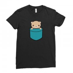 cute pocket brown bear Ladies Fitted T-Shirt | Artistshot