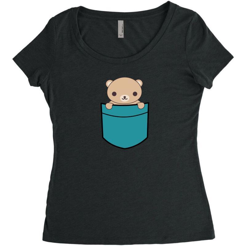Cute Pocket Brown Bear Women's Triblend Scoop T-shirt   Artistshot