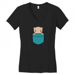 cute pocket brown bear Women's V-Neck T-Shirt | Artistshot
