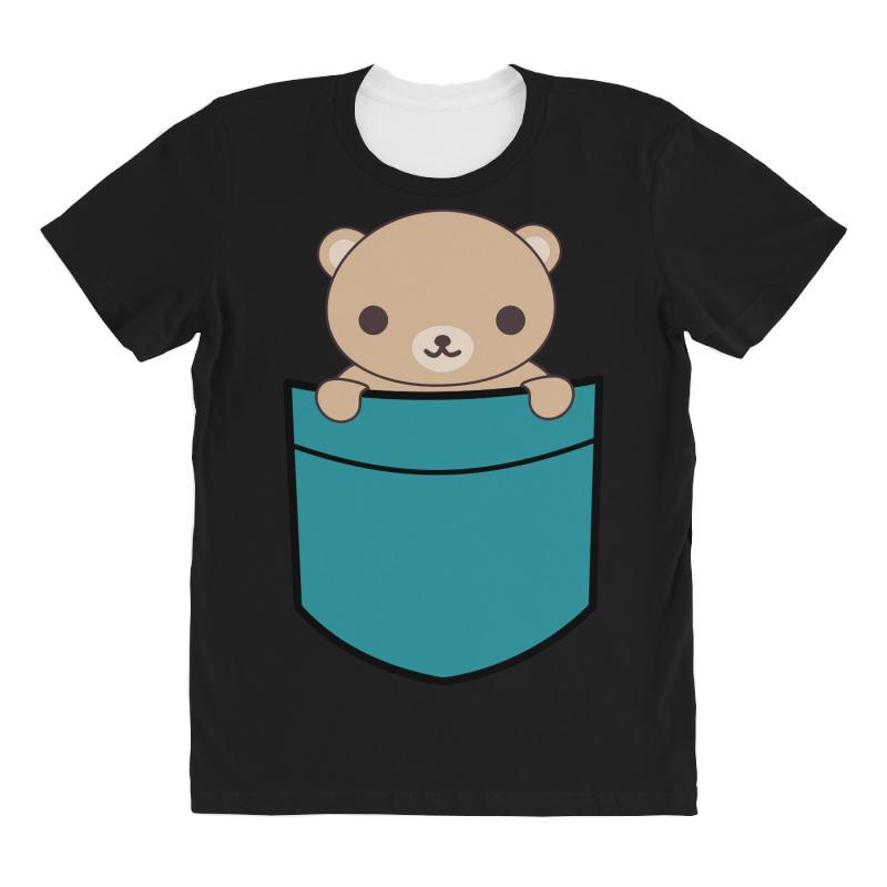 Cute Pocket Brown Bear All Over Women's T-shirt | Artistshot