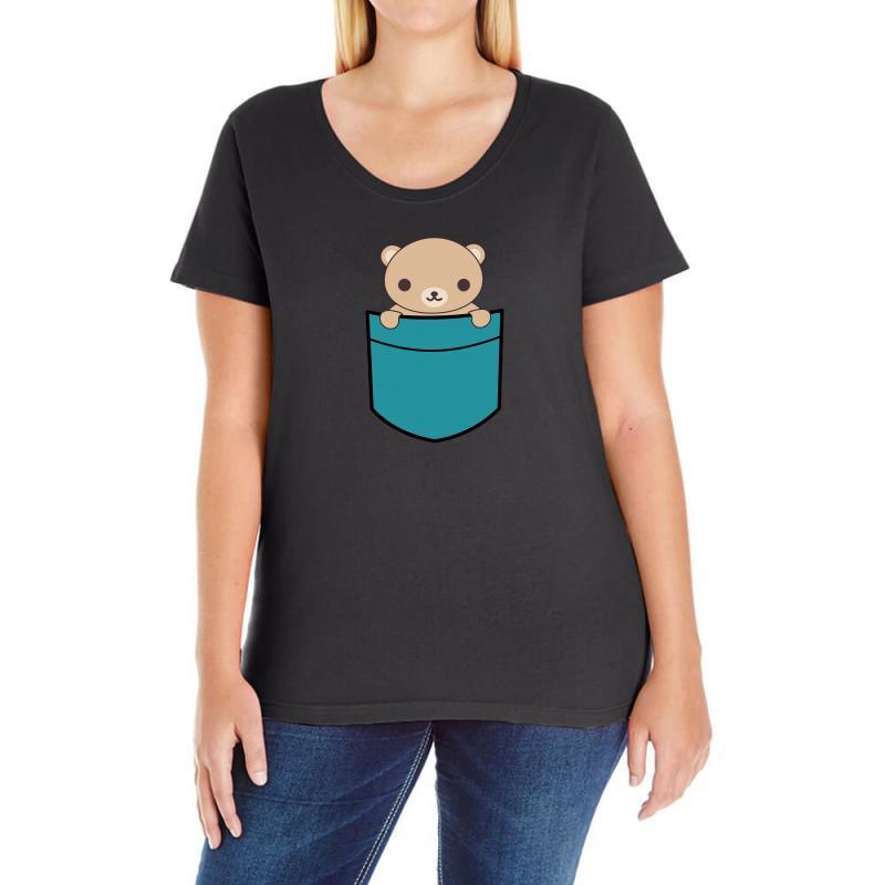 Cute Pocket Brown Bear Ladies Curvy T-shirt | Artistshot