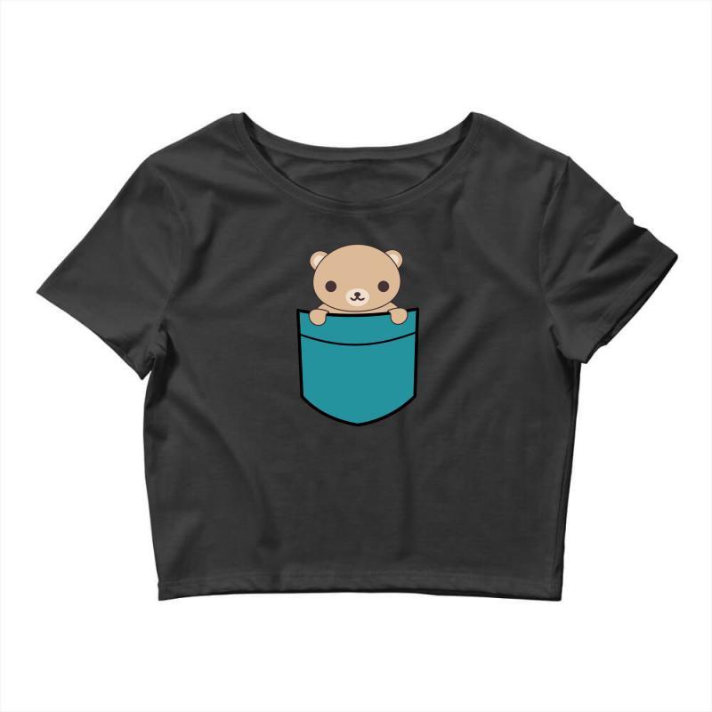 Cute Pocket Brown Bear Crop Top | Artistshot