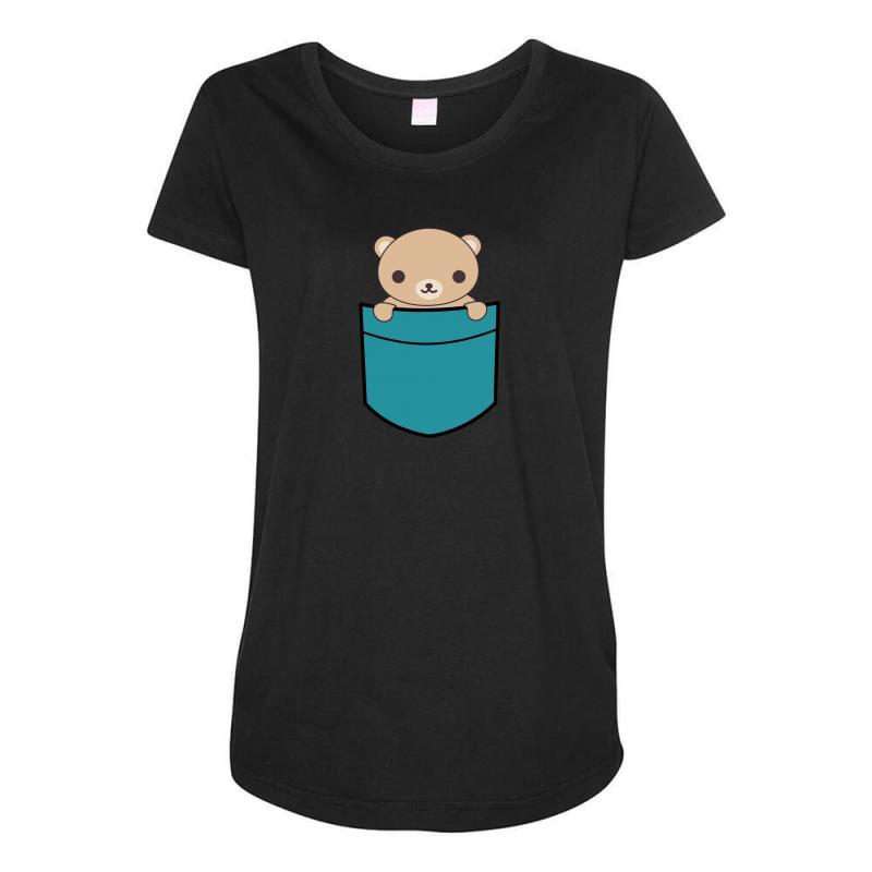 Cute Pocket Brown Bear Maternity Scoop Neck T-shirt | Artistshot