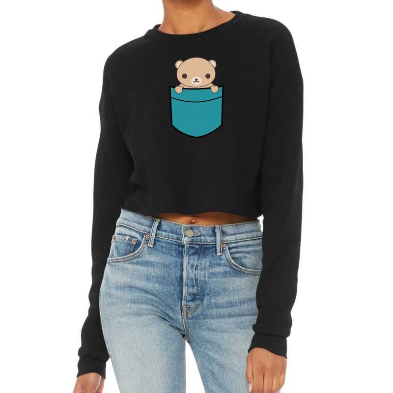 Cute Pocket Brown Bear Cropped Sweater | Artistshot