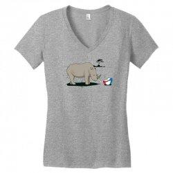 sad rhino Women's V-Neck T-Shirt | Artistshot