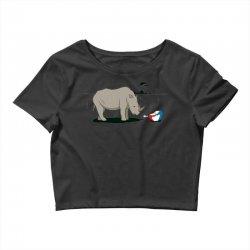 sad rhino Crop Top | Artistshot