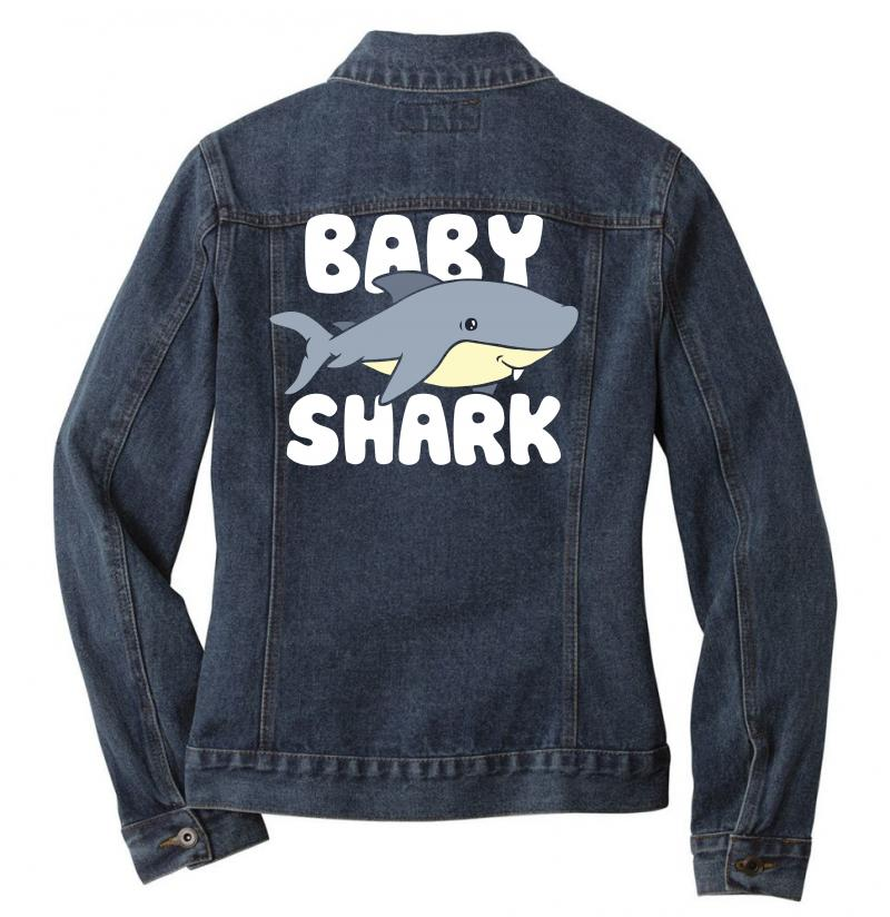 Baby Shark Funny Ladies Denim Jacket | Artistshot