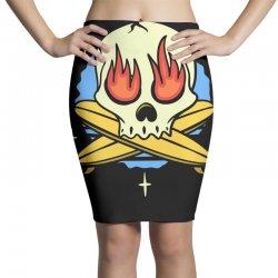 skull surf surfig Pencil Skirts | Artistshot