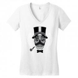 skull with vintage tall head Women's V-Neck T-Shirt   Artistshot