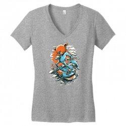 snowboard bear Women's V-Neck T-Shirt   Artistshot