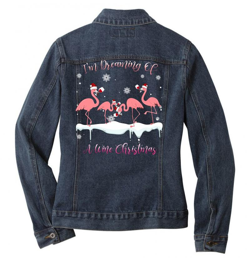 I'm Dreaming Of A Wine Christmas Flamingo Wine Lover Gift Ladies Denim Jacket | Artistshot