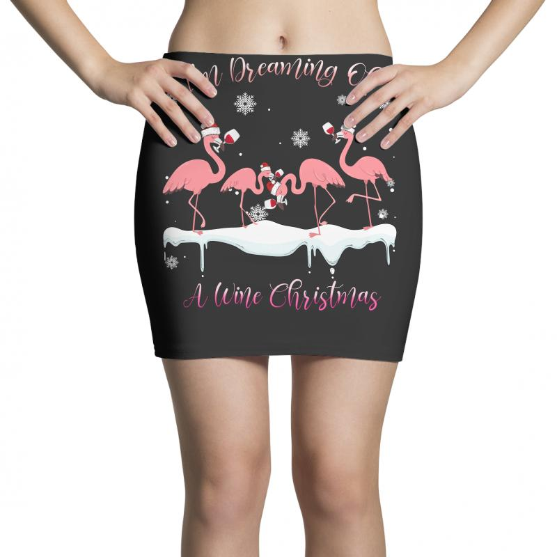 I'm Dreaming Of A Wine Christmas Flamingo Wine Lover Gift Mini Skirts | Artistshot
