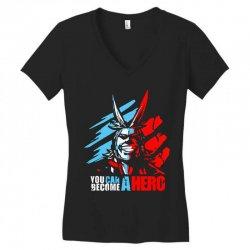 new my hero academia all might plus ultra anime midoriya Women's V-Neck T-Shirt   Artistshot