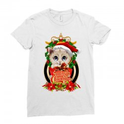 Merry Christmas Cat Lady Ladies Fitted T-Shirt | Artistshot