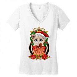 Merry Christmas Cat Lady Women's V-Neck T-Shirt | Artistshot