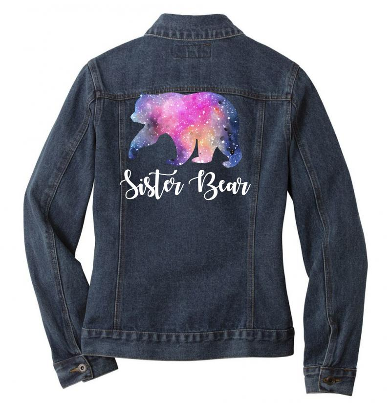 Watercolor Galaxy Bear Family Matching - Sister Bear Ladies Denim Jacket | Artistshot