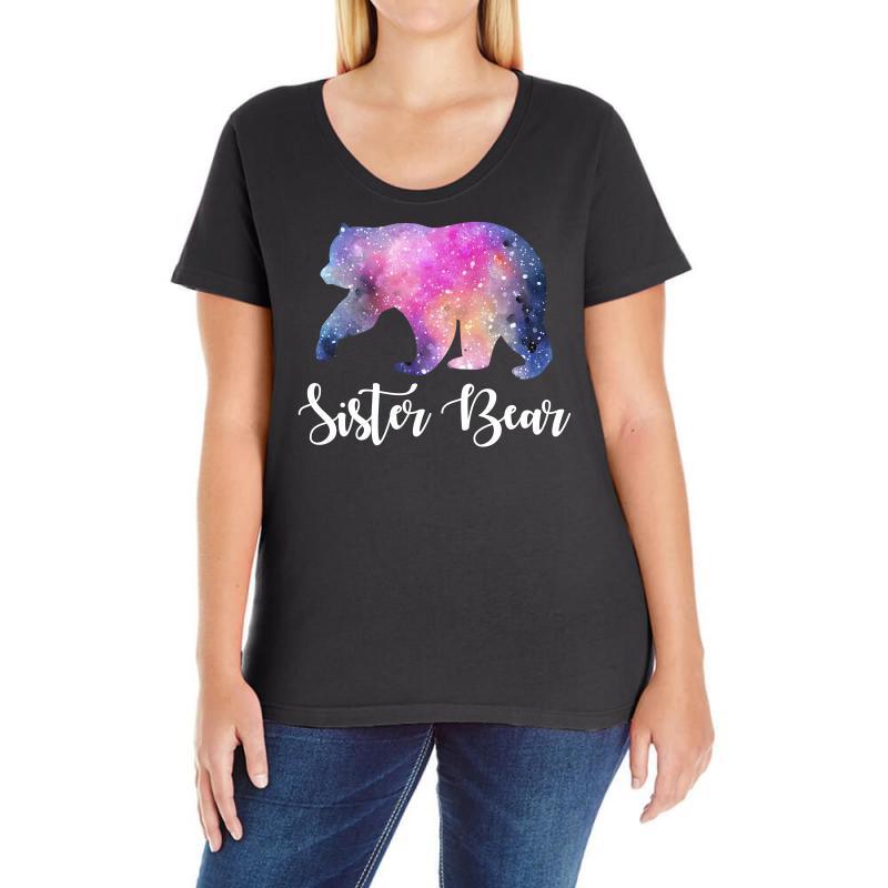 Watercolor Galaxy Bear Family Matching - Sister Bear Ladies Curvy T-shirt | Artistshot